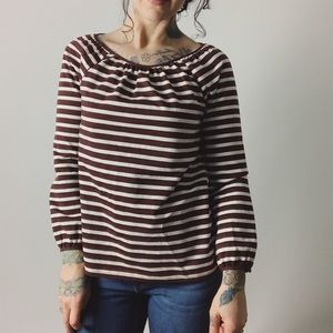J. CREW Structured Striped Keyhole Top Burgundy